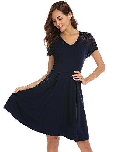 Bricnat Damen Elegant Kleider Spitzenkleid Langarm Cocktailkleid Knielang Rockabilly Kleid Blau XXL