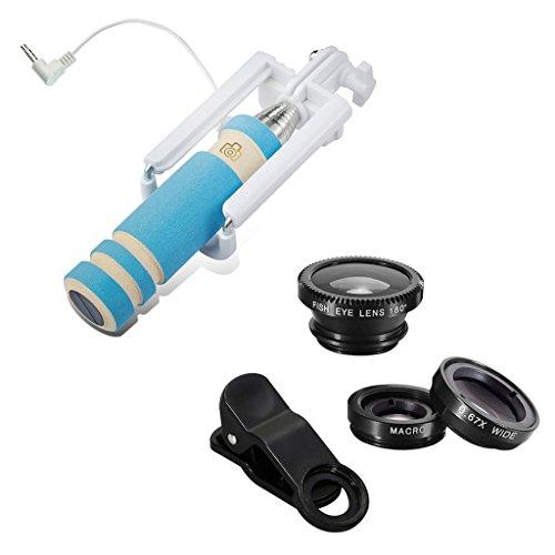 YF Universal 4-In-1 Mini, a trasformare il monopiede, Selfie Stick-Kit di lenti con obiettivo Fisheye 180°, grandangolo 0,67 x e Macro, con Clip di fissaggio universale-ange