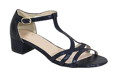 By Shoes - Sandale Talon Carré Style Pailleté - Femme - Taille 38 - Dark Blue