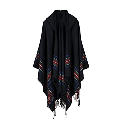 Uni Best Ladies' Hooded Thicken Stripe Cape with Fringed Hem, Crochet Poncho Knitting Patterns for Women