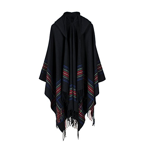 UK_Stone Damen Klassisch Schottisch Bunt Streifen Muster Poncho Cape Umhang mit Mütze (Schwarz)