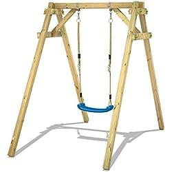 WICKEY Portique enfant en bois Smart One Balançoire avec 1 siège de balançoire pour les petits jardins