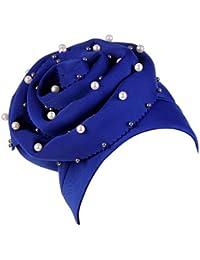 Dwevkeful Turbantes para Mujer Cancer Pamelas Bufanda Musulmana Decoración  Perla Sombrero Gorro para Chemo Oncológico Pèrdida e58585e792a