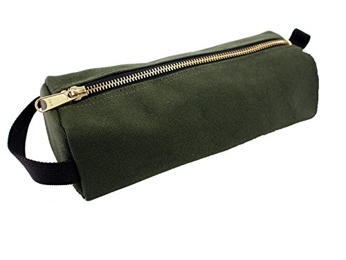 Rough Enough Highly Heavy Canvas Military Classic Small Tool Pencil Case Pouch, Tela, Stone Black, 9.1 X 4 X 2.5 inches Raw Green