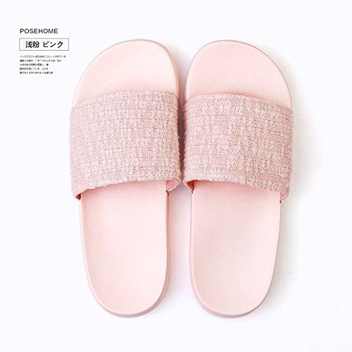 DogHaccd pantofole,Estate Home antiscivolo morbida pantofole studentesse in aria condizionata soggiorno al coperto gli amanti di colore solido pantofole maschio Rosa chiaro3