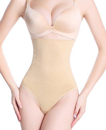 DODOING Damen Shapewear String Tanga Bodyshaper figurformende Unterwäsche Bauchweg Miederslip Hohe Taille Shaper Panties- 3XL(Taille 35.0-37.4 inch), Aprikosen (Bauch-band-shaping-panty)