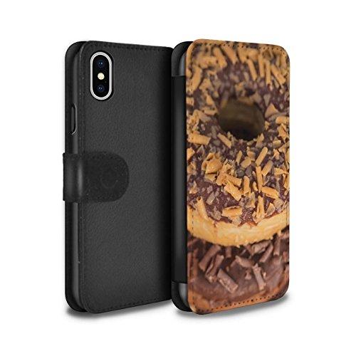 Stuff4 Coque/Etui/Housse Cuir PU Case/Cover pour Apple iPhone X/10 / Chocolat Design / Beignets Savoureux Collection Caramel Au Beurre