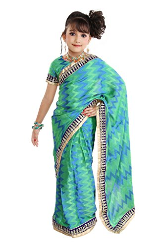 Pratima Girl's Fashionable Georgette Embosed Multi shaded Ready to wear Pre-stitched Saree
