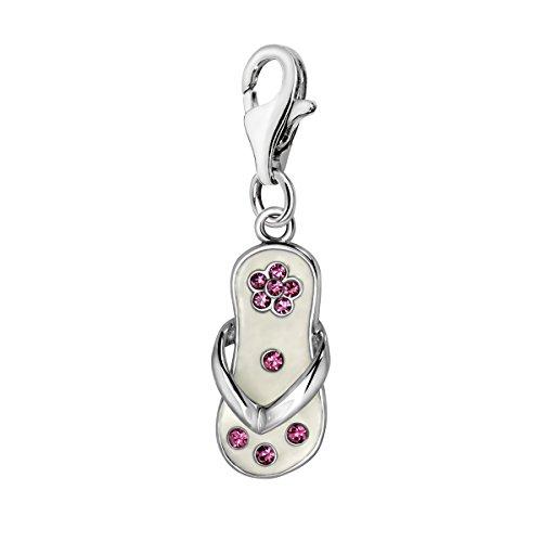Quiges Charm Anhänger Rosa Zirkonia und Weiß Emaille Blume Flip Flop 925 Silber mit Karabinerverschluss für - Girl Silber Baby Sterling Charm