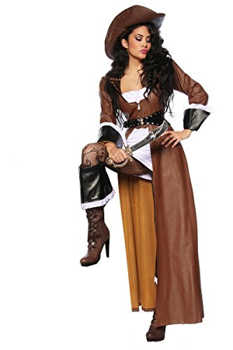 Hochwertiges Kostüm-Set `Piraten-Braut` für Karneval und Fasching A12633, Größe:40;Farbe:braun