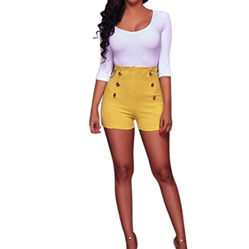 Women New Fashion Spring Summer Autumn Solid Shorts High Waist Button Zipper Elastic Comfort Shorts Sexy Hot Pants Short Trousers for Ladies Clubwear