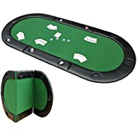 "HOMCOM Classic 3 Folding Poker Table Foldable Poker Top 10 Seater Players Blackjack Table with Drink Holders Carry Bag 200cm x 90cm / 79""x36"" Green"