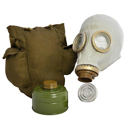 Epic Militaria Original-Gasmaske GP5, sowjetisch / russisches Design mit Filter, Tasche und Anti-Beschlag-Linsen, Grau oder Schwarz Gr. M, grau