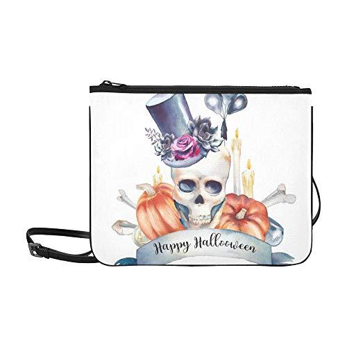 WYYWCY Feliz día de fiesta de Halloween Diseño de tarjeta de encargo de alto grado de nylon delgado bolso de embrague bolso cruzado cuerpo bolsa de hombro