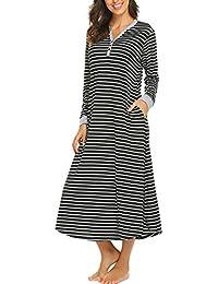 16487a8e6bce15 Skione Nachthemd Damen Stillen Pyjama Lang Streifen Knopfleiste V-Ausschnitt  Nachtwäsche Bodenlang…