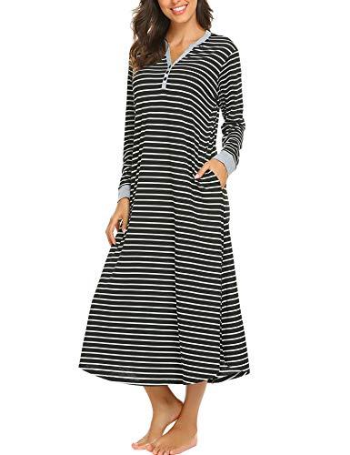 Nachthemd Damen Lang Streifen Knopfleiste Pyjama stillen Hemdkleid bodenlang Jersey Schlafanzugoberteil Sleepwear