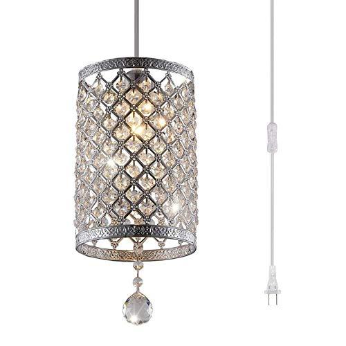 Unbekannt Zylindrischen Kristall Kronleuchter Deckenleuchte mit Stecker, LED Silber Glas Eisen Lampenschirm Moderne antike Wohnzimmer Küche Veranda Korridor Leuchte -
