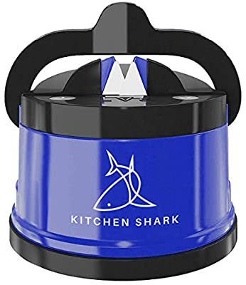 Kitchen Shark Knife Sharpener with Safety Non-Slip Suction Grip Base | These Knife Sharpeners Will Revive The Dullest Blade to a Razor Sharp Edge | Sharpening Kitchen Knives has Never Been Easier