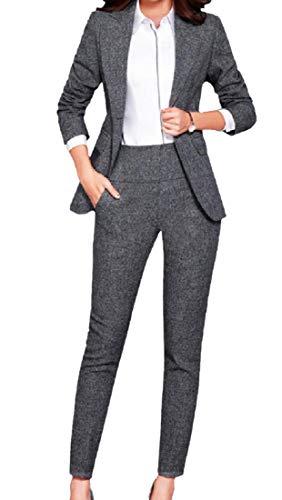 Andopa Donne Classic Fit Cotone Lino tailleur e pantaloni Set 2XL Grigio