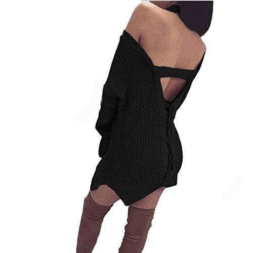 Rcool Rückenfreie Bandage Frauen Pullover Kleid locker lässige Pullover Stricken (L, Schwarz)