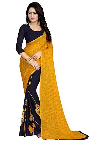 Rangrasiya Georgette Saree With Blouse Piece (Sg122127_Yellow_Free Size)