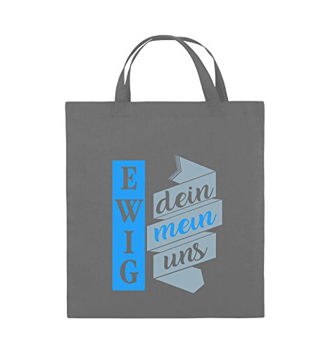 Comedy Bags - Ewig dein, ewig mein, ewig uns - Jutebeutel - kurze Henkel - 38x42cm - Farbe: Schwarz / Weiss-Neongrün Dunkelgrau / Eisblau-Blau