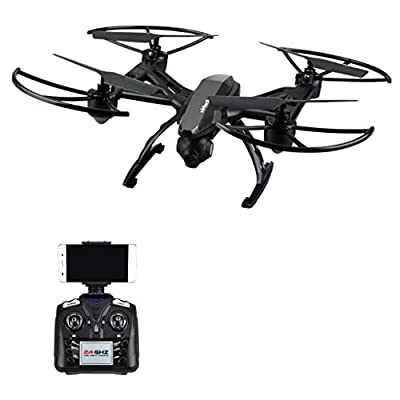 Virhuck 2.4GHz RC Quadcopter Drone with 0.3mp Camera, 15 Minutes Flight Time, Speed Control, Altitude Hold, One key Take-off / Landing / Emergency Stop, WiFi FPV Quodcopter Drone - Black