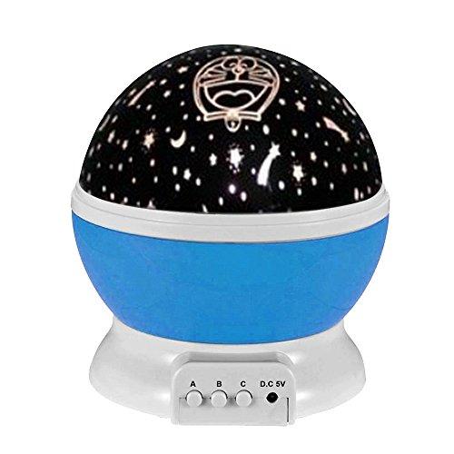 eizur 360° LED Projektor Rotation Lampe 3Modi Tisch Nachtlicht Projektion Powered USB oder Akkus für Baby Home Decro Kinder Zimmer und Nursery Bleu Ddcat