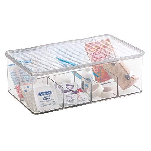 mDesign Mehrzweck Aufbewahrungsbox für Medikamente oder sonstiges Gesundheitszubehör - Vitamin Behälter bzw. Tablettenbox mit 8 Fächern - transparent