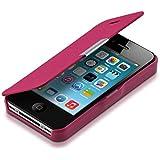 kwmobile Hülle für Apple iPhone 4 / 4S - Bookstyle Case Handy Schutzhülle Kunststoff - Flipcover Klapphülle Pink