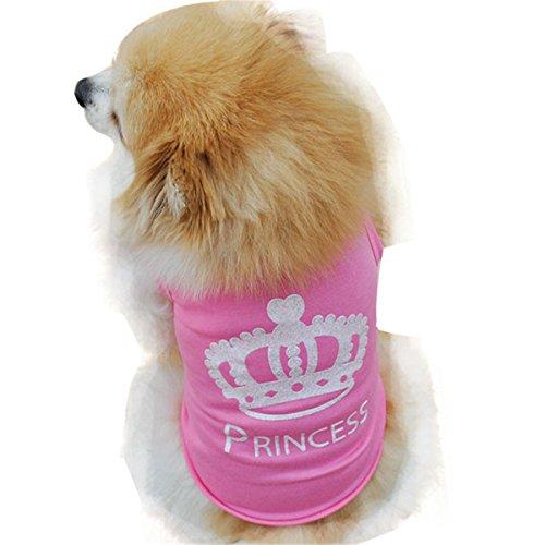 Smniao Sommer Baumwolle Haustier Hund Kleidung Princess Weste T-Shirt Hemd Kostüme für Kleine Hund Welpen Katze (L, Rosa)