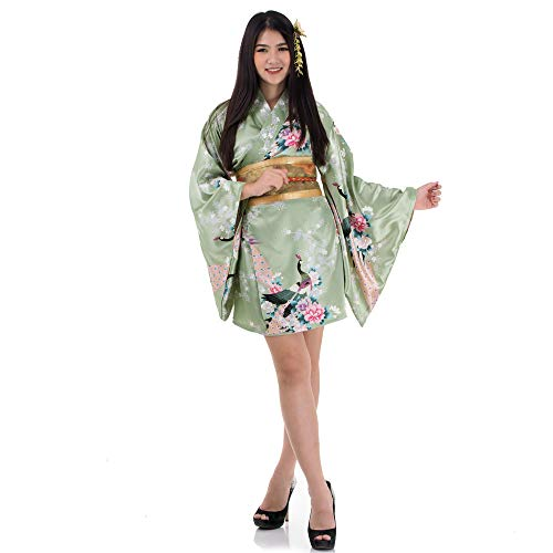 (Princess of Asia Kimono Damen Negligee Kleid Cosplay Lolita Minikleid Senbazuru Olivegrün Satin One Size)