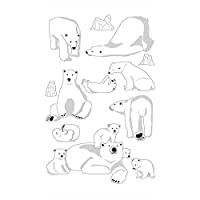 Téo et Zina Polar Bears Sticker Board, Felt, multi-coloured, 18.5x 9.5x 0.2cm
