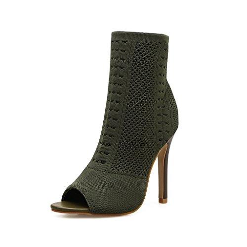 ALUK- Damenschuhe - europäische und amerikanische Mode / High Heels / gestrickte Schuhe / Stretch Socken Stiefel / sexy coole Stiefel ( Farbe : Grün , größe : 34-Shoes long220mm ) (Sie Stretch Ziehen Stiefel)