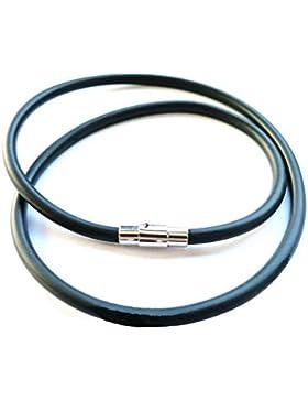 Kautschukhalsband, Halskette, Kautschukband mit rostfreiem Karabinerverschluss aus Edelstahl KHB 304, versch.Längen...
