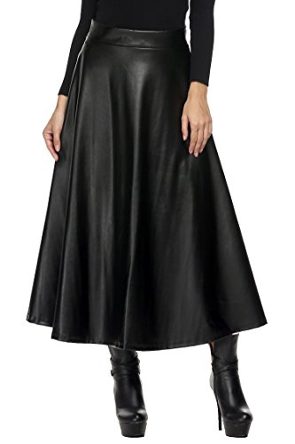 Busyall Damen Maxirock Lederrock Winterrock hohe Taillen Faltenrock A-Linie Swing aus Synthetikledern, Schwarz, 44(Herstellergröße:XXL)