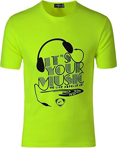 Jeansian Herren Sportswear Quick Dry Short Sleeve T-Shirt LSL182 LSL178_GreenYellow