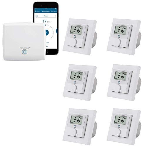 Homematic IP KABELGEBUNDENE Fußbodenheizungssteuerung zur Einzelraumregelung in 6 Räumen | Zentrale und 6 Digitale Thermostate mit Schaltausgang. Mit App Steuerung und Fernzugriff. -