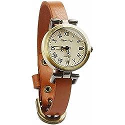 Armbanduhren Messing Modeschmuck Uhr Damen Leder runden römischen Ziffern Mahé Gelb Geschenk Damen