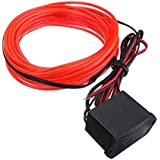EL alambre - SODIAL(R) 2M EL Cable DC 12V de neon flexible de iluminacion para fiestas rave de Navidad de Halloween pantalla (rojo)