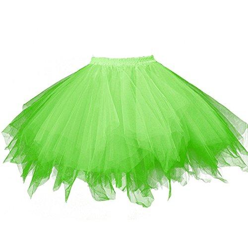 Honeystore Damen's Tutu Unterkleid Rock Abschlussball Abend Gelegenheit Zubehör Fluoreszenzlicht Grün