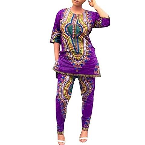 Reaso Impression africaine Deux morceaux Pantalons + chemisier (M,