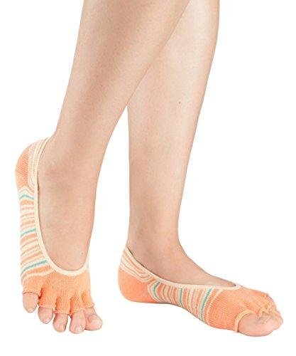 Knitido Everyday PAWS! | Bunte Zehen-Füßlinge, Größe:39-42, Farbe:Orange-Grün (Orange Gestreifte Zehen-socken)