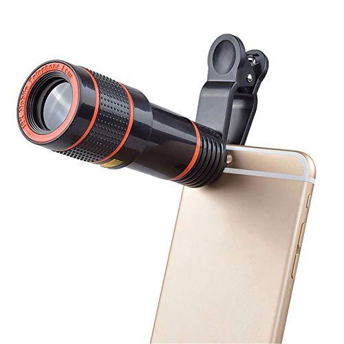 XFWY Universal 12 Mal Handy Tele Teleskop Kopf HD Externe Kamera Objektiv 12X Zoom Fokus Telefon Objektiv (Teleskop-sicherheits-kamera)