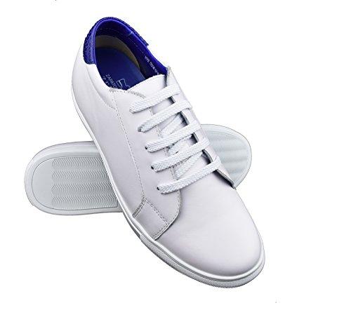ZERIMAR Zapatos Deportivos con Alzas Interiores para Hombres Aumento 6 cm | Zapatos de Hombre con Alzas Que Aumentan Su Altura | Zapatos Hombre | Color Blanco-Azul Marino Talla 41