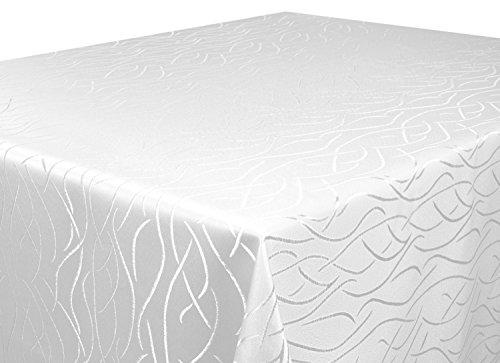 d 135 cm in glanzvoller Streifenoptik, eckig - Größe, Farbe & Form wählbar (Rund Eckig Oval) (Weiße Runde Tischdecke)
