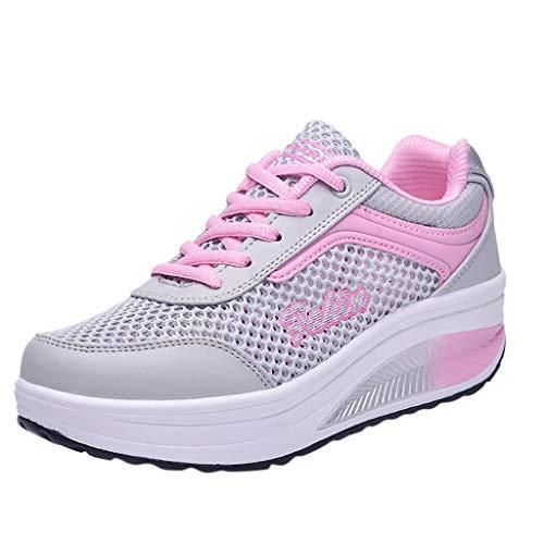 COZOCO Damenmode Mesh atmungsaktive Turnschuhe Casual Schnürschuhe Student Laufschuhe(rosa,36 EU)