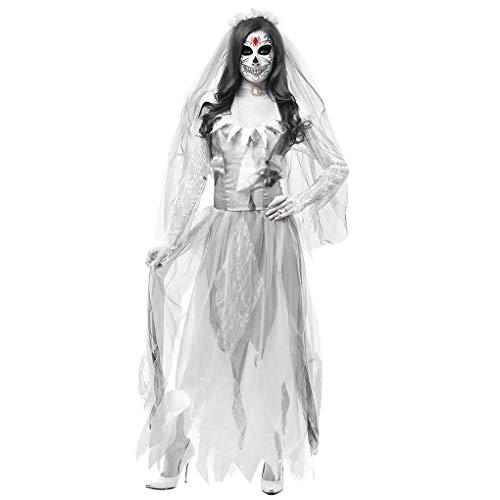 Halloween Ghost Braut Zombie Horror Kleid KostüM Spiel Stage Vampire Demon KostüMe Spielbar Maskerade Schleier Krawatten Hoodie Schal Pirat Hexe Cosplay Dress Passt Set Gespenst - Weiß/Schwarz