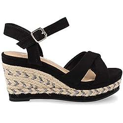 Sandalia Yute para Mujer Cuna combinada con Cuerda Metalizada Pulsera Ajustable Primavera Verano 2019 Talla 39 Negro