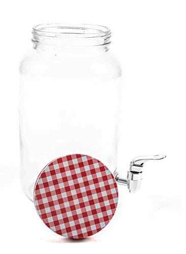 Unbekannt Getränkespender mit Zapfhahn, Filter und Schraubverschluss, Retrodesign, Volumen 3 Liter, lieferbar in den Farben Grün, Gelb, Blau oder Rot (Rot)